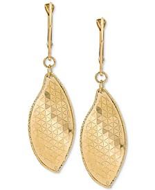 Textured Dangle Drop Earrings in 14k Gold, 1 3/4 inch