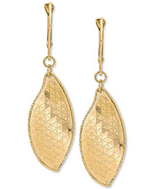 Italian Gold Textured Dangle Drop Earrings in 14k Gold, 1 3/4 inch