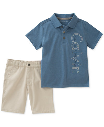 Calvin Klein 2-Pc. Graphic-Print Polo & Cotton Shorts Set, Toddler Boys