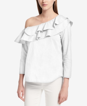 Calvin Klein  RUFFLED OFF-THE-SHOULDER TOP, CREATED FOR MACY'S