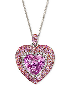 "Lab-Created Pink Sapphire (6-3/8 ct. t.w.) & White Sapphire (1/3 ct. t.w.) Heart 18"" Pendant Necklace in Sterling Silver"