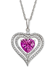 "Lab-Created Pink Sapphire (1-3/8 ct. t.w.) & White Sapphire (1/2 ct. t.w.) Heart Halo 18"" Pendant Necklace"