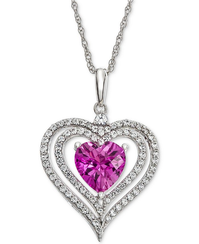 Macy's - Lab-Created Pink Sapphire (1-3/8 ct. t.w.) & White Sapphire (1/2 ct. t.w.) Heart Halo Pendant Necklace