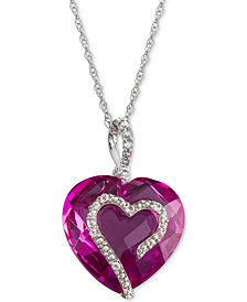 "Lab Created Pink Sapphire (9 ct. t.w.) & White Sapphire Accent 18"" Heart Pendant Necklace in Sterling Silver"