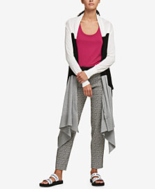 DKNY Colorblocked Draped Open Cardigan, Created for Macy's