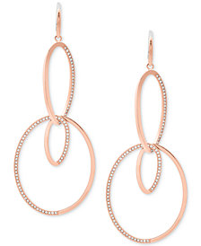 Michael Kors Pavé Double-Loop Drop Earrings