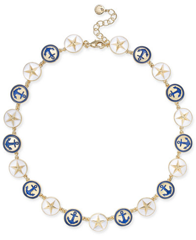 Charter Club Gold-Tone Enamel Anchor & Star Link Collar Necklace, 17