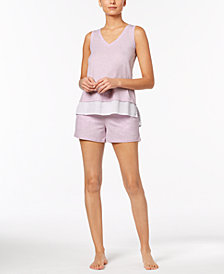 Alfani Solid Woven Pajama Tank & Shorts Sleep Separates, Created for Macy's