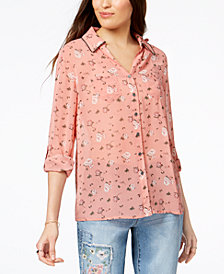 Style & Co Petite Studded Utility Shirt, Created for Macy's