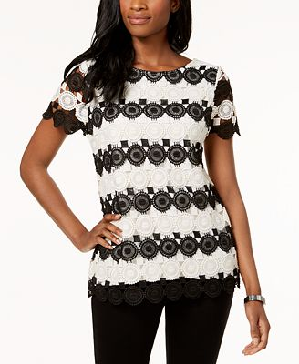 Charter Club Colorblocked Lace Top, Created for Macy's