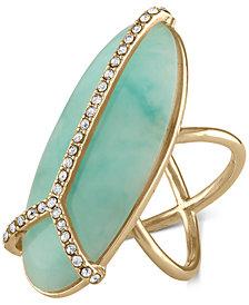 RACHEL Rachel Roy Gold-Tone Blue Stone Peace Sign Ring