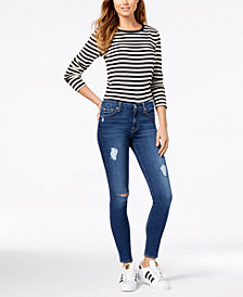 7 For All Mankind Ankle Skinny with Rips Jeans