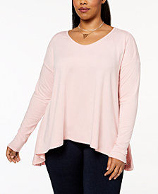 Say What? Trendy Plus Size Long-Sleeve Swing Top