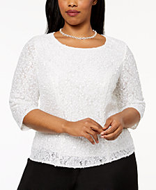 Alex Evenings Plus Size Sequined Lace Blouse