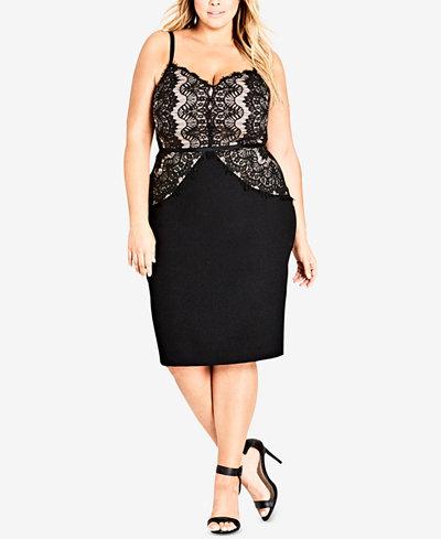 City Chic Trendy Plus Size Lace Bodycon Dress