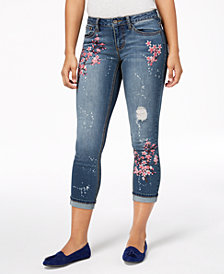 Earl Jeans Embroidered Bleach-Stain Cuffed Skinny Jeans