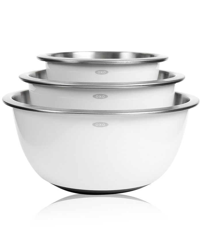 OXO - Mixing Bowls, Set of 3 White Stainless Steel