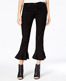 Black Daisy Juniors' Cha Cha Cropped Ruffled Jeans