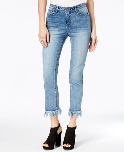 Black Daisy Juniors' Kate Fringe-Trim Cropped Jeans