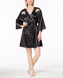 Thalia Sodi Embroidered-Rose Satin Wrap, Created for Macy's