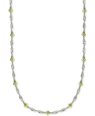 "18"" Beaded Singapore Chain Necklace in Sterling Silver & 18k Gold-Plate, Created for Macy's"