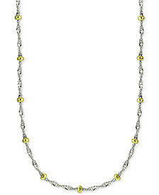 "Giani Bernini 18-20"" Beaded Singapore Chain Necklaces in Sterling Silver & 18k Gold-Plate, Created for Macy's"