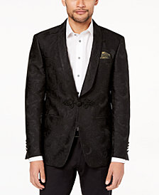 Tallia Orange Men's Big & Tall Modern-Fit Black Tonal Paisley Dinner Jacket