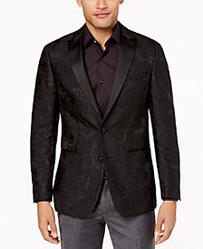 Tallia Orange Men's Modern-Fit Black Large Tonal Paisley Dinner Jacket