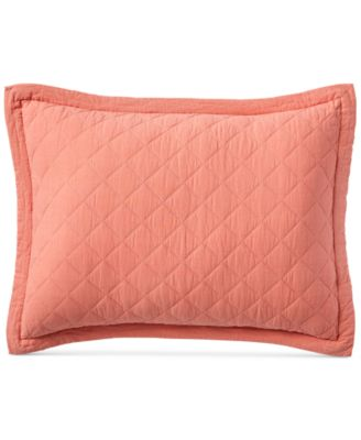 Linen-Cotton Broadstitch Diamonds Quilted Standard Sham, Created for Macy's, Coral