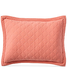 Martha Stewart Collection Linen-Cotton Broadstitch Diamonds Quilted Standard Sham, Created for Macy's, Coral