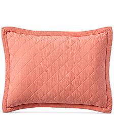 Martha Stewart Collection Linen-Cotton Broadstitch Diamonds Quilted Standard Sham, Created for Macy's