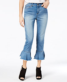 Black Daisy Juniors' Cha Cha Cropped Ruffled Jeans