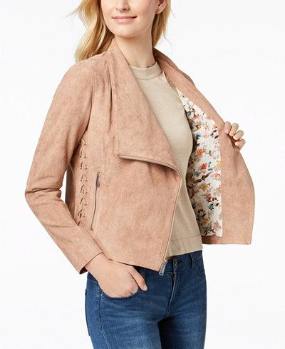BGBGeneration Faux-Suede Lace-Up Moto Jacket