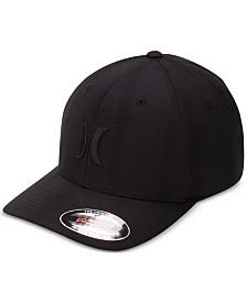 Hurley Men's Black Plaid Embroidered-Logo FlexFit Hat