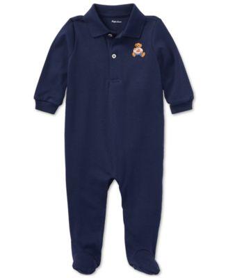 폴로 랄프로렌 Polo Ralph 로렌 랄프로렌 Lauren Ralph Lauren Baby Boys Cotton Coverall,Navy