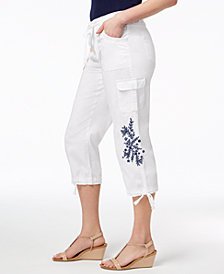 Style & Co Embroidered Cropped Cargo Pants, Created for Macy's