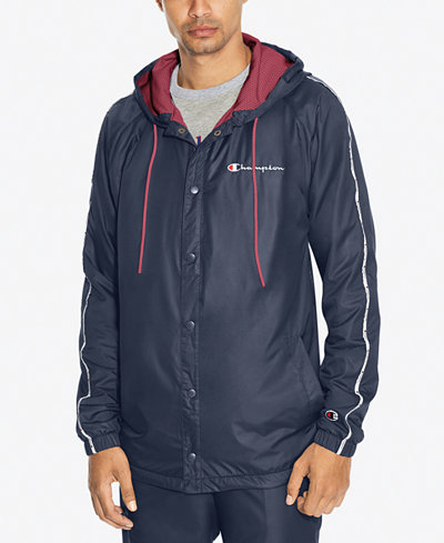 Champion Men's Snap-Front Hooded Satin Jacket