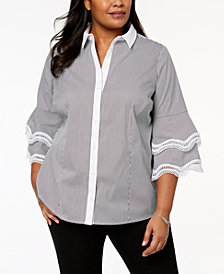 Charter Club Plus Size Tiered-Sleeve Lace-Trim Shirt, Created for Macy's