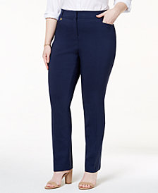 JM Collection Plus & Petite Plus Size Curvy-Fit Slim-Leg Pants, Created for Macy's