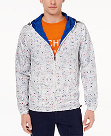 Daniel Hechter Paris Men's Ace Reversible Graphic-Print Hooded Windbreaker