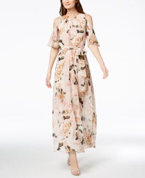 Floral Print Chiffon Maxi Dress In Blush Multi