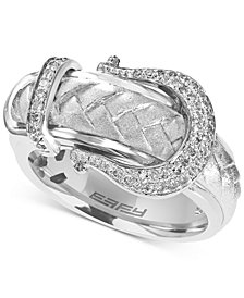EFFY® Diamond Belt Buckle Ring (1/5 ct. t.w.) in Sterling Silver