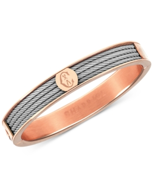 Two-Tone Bangle Bracelet in Stainless Steel and Rose Gold-Tone Pvd Stainless Steel