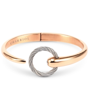 White Topaz Two-Tone Bangle Bracelet (1/5 ct. t.w.) in Stainless Steel & 14k Rose Gold-Plated Stainless Steel Pvd