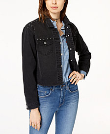 Crave Fame Juniors' Embellished Ripped Black Denim Jacket