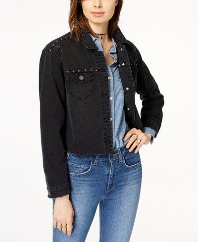 Crave Fame Juniors' Embellished Ripped Black Denim Jacket