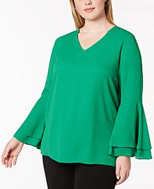 Alfani Plus Size Ruffled Blouse, Created for Macy's