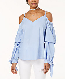 Gypsies & Moondust Juniors' Cotton Cold-Shoulder Striped Top
