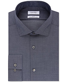 Calvin Klein Men's STEEL Slim-Fit Non-Iron Performance Stretch Denim Print Dress Shirt