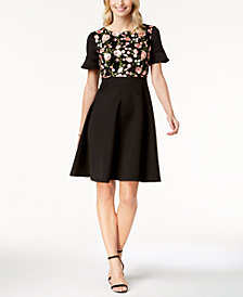 sangria Petite Embroidered Fit & Flare Dress